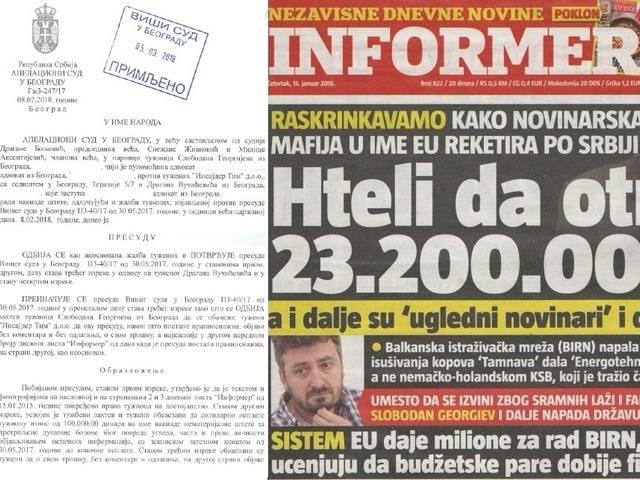BIRN Editor Wins Case Against Serbian Pro-Govt Tabloid
